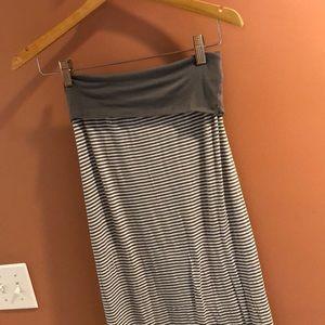Max Studio Striped Fold Over Maxi Skirt Sz Med